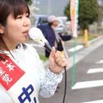 JAおんさい広場前にて県政報告