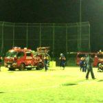 地元消防団の夜間訓練を見学