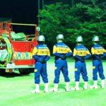 消防団三輪分団の操法練習を応援