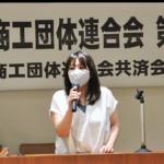 岐商連総会であいさつをしました。7月18日、午前。